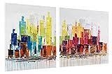 Kunstloft® Cuadro en acrílico 'City of Lights' 120x60cm | Original Pintura XXL Pintado a Mano sobre Lienzo | Skyline Multicolor Moderno Multicolor | Cuadro acrílico de Arte Moderno con Marco
