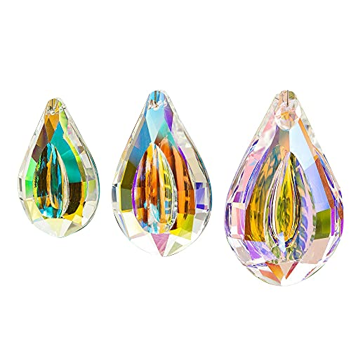 SneiDr 3 Pieces Colorful Prisms Suncatcher Rainbow Crystal Hanging Colorful Concave Teardrop Lamp Prisms 76mm/63mm/50mm AB Coating Chandelier Prism Parts Glass Crystals Hanging Drops Pendants