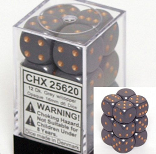 Chessex Dice d6 Sets: Opaque Dark Grey with Copper - 16mm Six Sided Die (12) ...