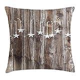 MeiMei2 Primitive Country Überwurf-Kissenbezug, silberfarben, verzierte Sterne auf Holz, rustikaler Zaun-Druck, dekorativ, quadratisch, 45,7 x 45,7 cm, Braun/Silber