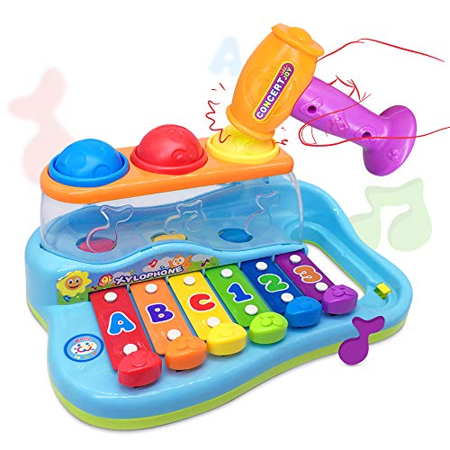 eastsun Early Education 18 M+ Olds Baby Toy Enlighten Xylophone with 3 Color Balls/Small Hammer for Children & Kids Boys and Girls