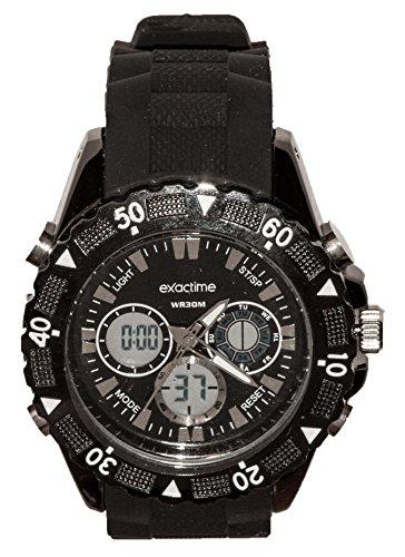 EXACTIME 2912 Negro - Reloj Deportivo Resistente al Agua Unisex - Análogo/Digital