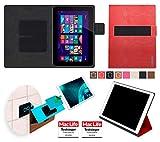 Hülle für HP Omni 10 Tasche Cover Hülle Bumper | in Rot Leder | Testsieger