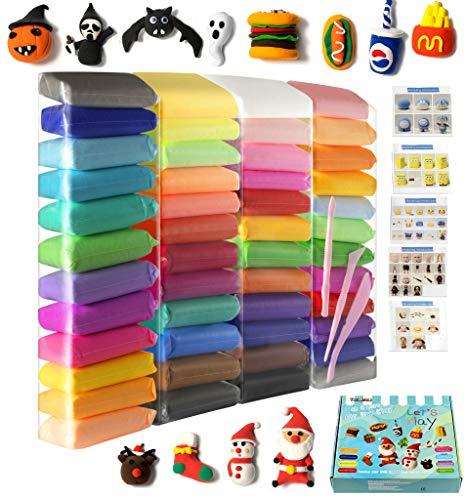 Pasta de secado al aire, 48 piezas, arcilla modeladora, 48 colores, arcilla mágica con herramientas y manuales (750 gramos), cajas de Navidad