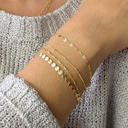Qingsb 4 stks/set bohemen armband set multilayer munt ketting armbanden voor vrouwen voet ketting enkelbanden sieraden, gouden