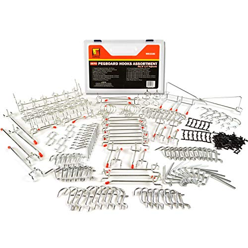 Wellmax 188pc Pegboard Hooks Accessories Assortment, Heavy Duty Peg Board Hook Set, Perfect for tools, crafts, peg boards and pegs attachments. Fits 1/4 and 1/8 inch Peg Holes