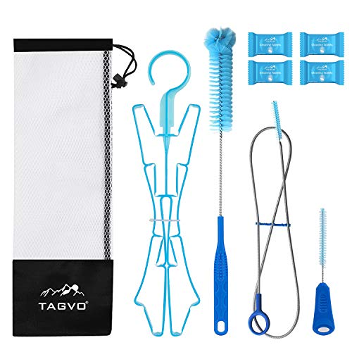 TAGVO Hydration Bladder Tube Brush Cleaning Kit, 6 in 1 Water Bladders Cleaner Set - Long Brush, Small Brush for Bite Valve, Big Brush, Collapsible Hanger, 4X Cleaning Tabs & Carrying Pouch