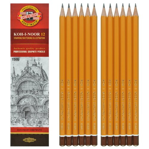 12 Stück KOH-I-NOOR Bleistifte Härte 4B Graphitstifte Set