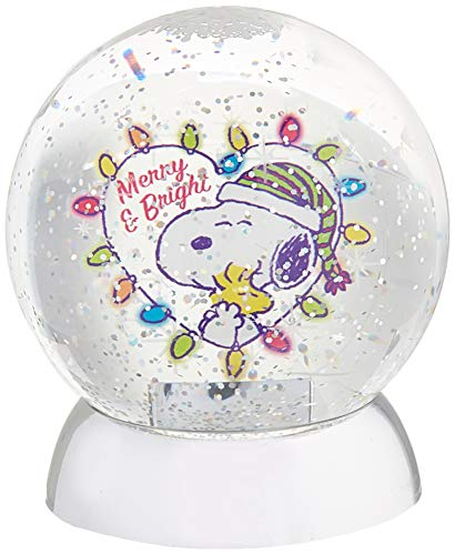 Department 56 Peanuts Merry and Bright Waterdazzler Waterball, 4.5 Inch, Multicolor