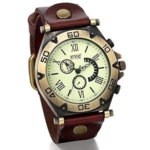 JewelryWe Men Boys Vintage Wide Leather Bracelet Quartz Wrist Watch for Fathers Day
