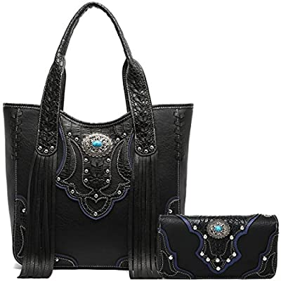 Western Style Cowgirl Fringe Concealed Purse Conchos Totes Country Women Handbag Shoulder Bags Wallet Set (1 Black Set)