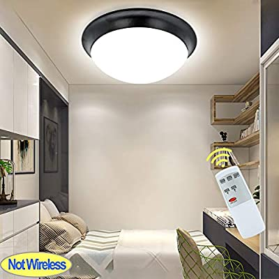 DLLT Remote Control LED Ceiling Disk Light-24W Dimmable Modern Flush Mount Ceiling Fixture, Brightness Adjustable Round Light Fixture for Bedroom, Kitchen, Bathroom 11inch, IP44 Waterproof