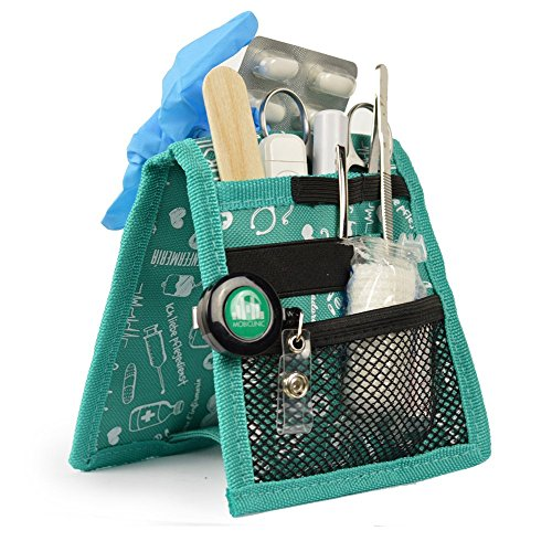 Organizador auxiliar de enfermería, Keen's de Elite Bags, Para bata o pijama, Diseño exclusivo con estampados en color verde