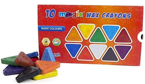 MAGIC Triangular Wax Crayons, 10 Main Colors, Ergonomic Shape, Non-Toxic, Extra Durable, Incredibly Fast Drawing