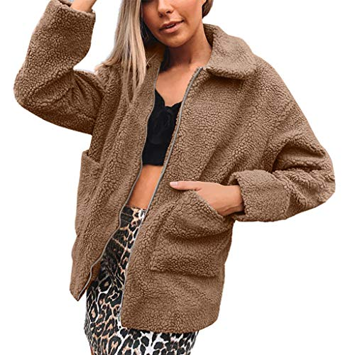 Buy Discount Kiminana Women's Faux Fur Solid Color Lapel Pocket Zip Jacket Warm Coat Zipper Turn Dow...
