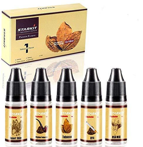 E Liquids 5 X 10ml,Tobacco Flavor for Vape E Cigarettes Starter Kit E...