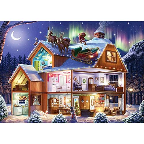 TIANTIAN Christmas 5D Diamond Painting Art Cross Stitch DIY for Christmas Decororations (14.75 X 11.81 Inches)