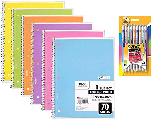 Back To School Supplies Bundle Set Of 6 Mead Spiral Notebook 1-subject, College Ruled, Pastel Color Cute School Notebooks, 70 Pages With 24 Ct Of Bic Xtra-sparkle Mechanical Pencil, Medium Point 0.7mm