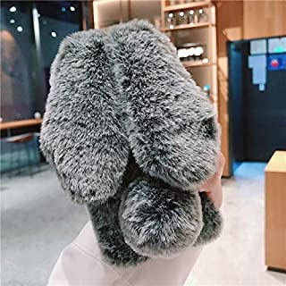 CATRON-Fitted Cases - Cute 3D Rabbit Ears Fur Plush Case For for Xiaomi Redmi k30 8 8A 7 7A 6 6A 5 5A 4A 4X S2 Note 8 7 6 5 Pro Cover Diamond Warm Case (Rabbit Gray For Redmi Note 7 Pro)