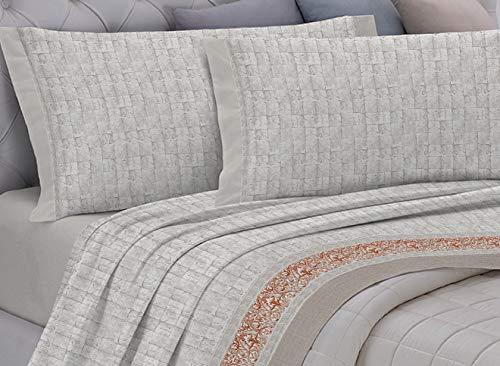 GEMITEX Completo Letto Flanella in 100% Cotone, Matrimoniale, Linea Enjoy, Disegno G17 Variante 08 Tortora, con Trattamento ANTIPILLING. Made in Italy