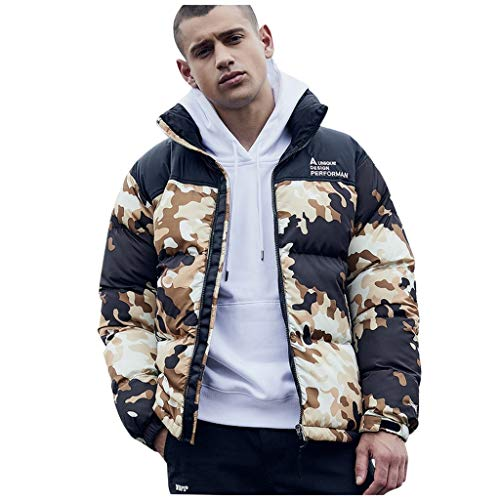 ODRD Daunenjacken - Patchwork Camouflage Rainproof Windbreaker Zipper - Softshelljacken Rainproof Windbreaker Wasserdichte Jacket Winddichte Regenjacke Radsport-Jacken Jacke Mäntel Militäruniformen