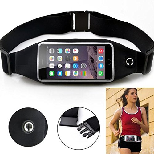 Black Sports Running Workout Waist Bag Belt Case Gym Pouch Reflective Cover Transparent Touch Screen Compatible with T-Mobile LG K20 Plus - T-Mobile LG K30 - T-Mobile LG K7 - T-Mobile LG Q7 Plus