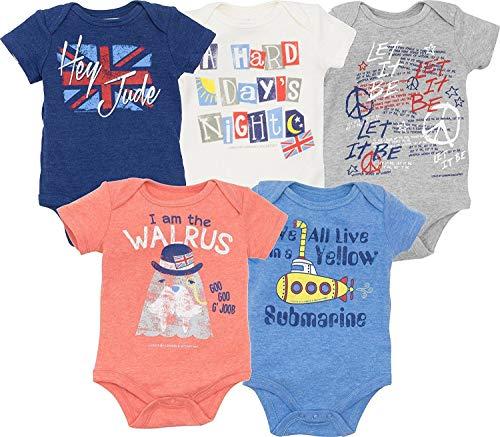 Lyrics by Lennon and McCartney Baby Boys 5 Pack Short Sleeve Bodysuit 18 Months