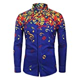 LONGDAY Musical Note Pattern Button Up TopMens Hipster Printed Slim Fit Long Sleeve Dress Shirts/Prom Performing Blue