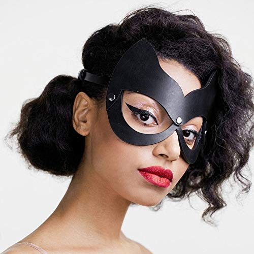 New Sexy Cosplay Rabbit Bunny Leather Mask BDSM Fetish Erotic Cat Ear Halloween Rave Carnival Catwoman Masquerade Mask (EM-019)