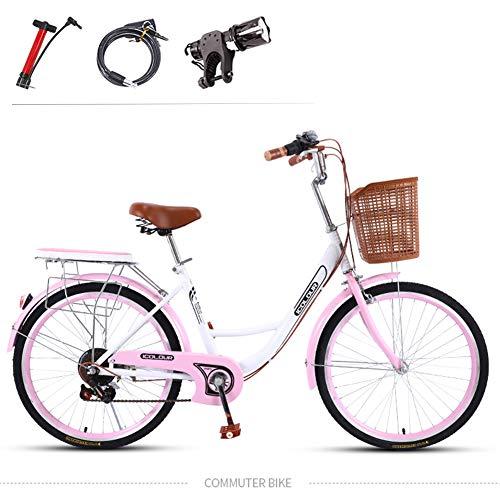GHH 7 velocità, Rosa, 24' Bici da Città per Donna/Bicicletta Liberty da Bambina con Cesto/Comfort Bike Telaio in Acciaio