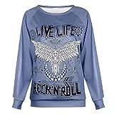 Felpa da donna, sciolto girocollo stampato a maniche lunghe pullover casual t-shirt, 123, Blu, M