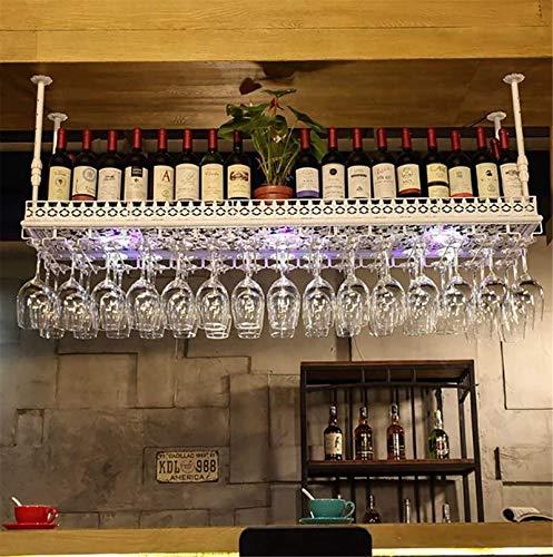 Feeyond Estante De Tallo De Vino Tinto Colgante, Soporte De Botella Colgante De Montaje En El Techo Soporte De Vidrio De Vidrio Metálico - Diverso Almacenamiento,Blanco,100 * 35cm