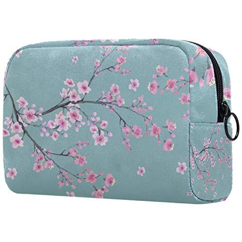 Borse per il trucco Custodia multifunzione per organizer per cosmetici da viaggio portatile Modello senza cuciture con ramo dei fiori di fiori di ciliegio con borse da toilette con cerniera per donna