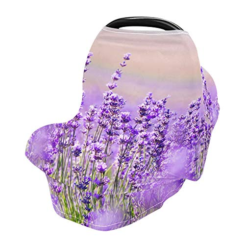 YYZZH Purple Flower Lavender Floral Stretchy Baby Car Seat Cover Infant Canopy Nursing Covers Breastfeeding Cover Breathable Windproof Winter Scarf for Boys Girls