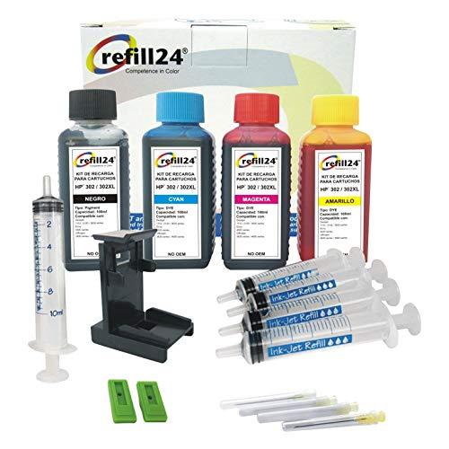 refill24 Nachfüllset für Tintenpatronen HP 302, 302 XL, Schwarz und Farbe + Luftabzugsadapter und Zubehör + 400 ml Tinte