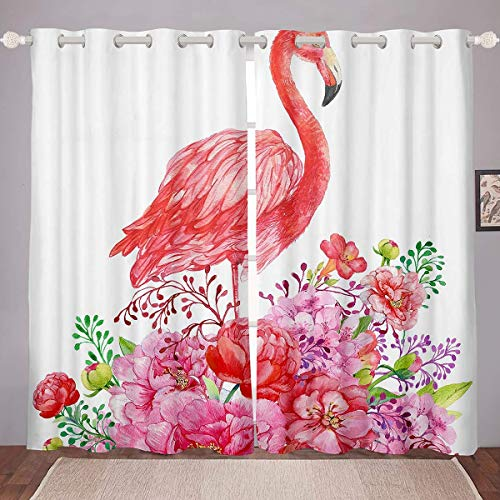 Abaysto Window Drapes Flamingo Red Floral Flowers Women Tropical Flamingo Pattern Chic Animal Botanical Window Curtain Grommet Top Blackout Window Treatment for Living Room, 2 Panels