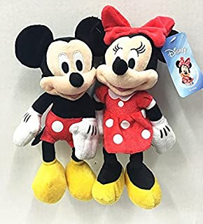 "Just Play Disney Mickey & Minnie Mouse 10"" Plush Bean Doll Set of 2"