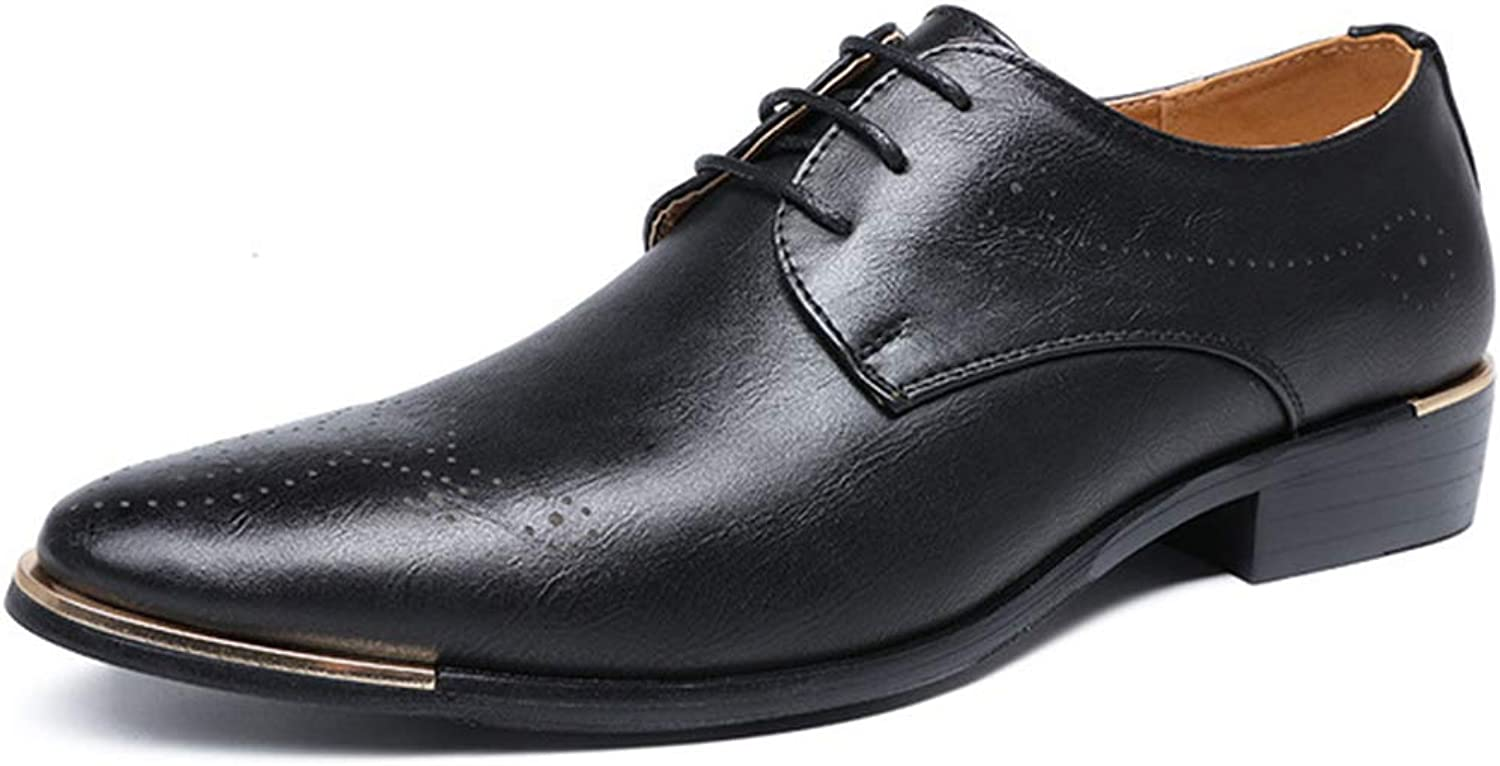 K-Flame Business Round Head Oxford shoes Formal Dress Brogues Lace ups Leather Footwear Vintage Casual for Office Outdoor Work