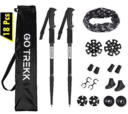 GO TREKK 2 Bastones de Senderismo Profesionales 60~135 cm+ Accesorios múltiples + Bandana Deportiva,Trekking Poles telescópicos, Ultra Ligeros, Plegables, Ajustables, Anti Choque (Negro)