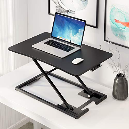 Standing Desk Converter 28.7 Inches Stand Up Desk Riser Ergonomic Sit to Stand Desk Height Adjustable Computer Workstation for Home/Office Use