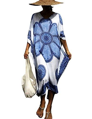Bsubseach Women's Blue Big Floral Print Kaftan Maxi Dress Summer Swimsuit Beach Cover Up Dress Caftan Robe