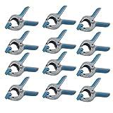 Ferrestock FSKPRS101 - 12 pinze di fissaggio con molla, manico antiscivolo, ganasce girevoli, molla extra forte, apertura massima 39 mm, profondità 40 mm, 39 x 40 mm