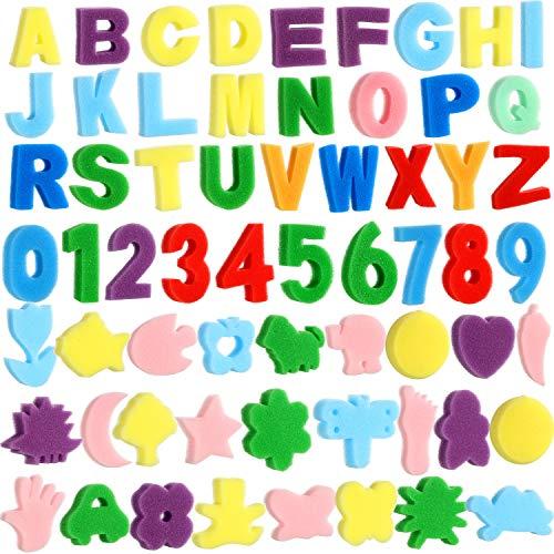 Gejoy 64 Pieces Sponge Painting Kit for Kids, Alphabet Numbers Animal Paint Sponges Painting Sponge Shapes Sponge Models Art Craft Drawing Tools for Kids Toddlers Kids Educational Bathroom
