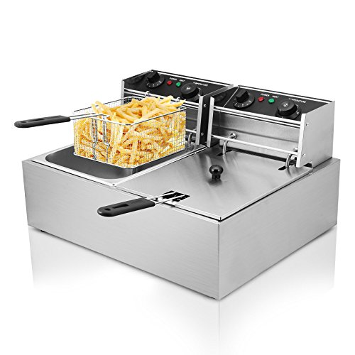 Autocompra Freidora Eléctrica 20L 5000W Freidora Industrial Acero Inoxidable para Patatas Fritas Deep Fryer Commercial (10L + 10L Tanque )