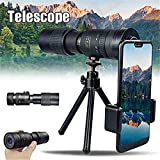 DNFITNESS 4K 10-300X40mm Super Telephoto Zoom Monocular Telescope, Premium Compact High Definition Telescope and Smartphone Holder - for Bird Watching Hunting Camping Surveillance (10-300×40)