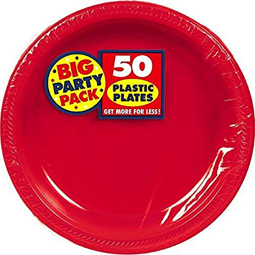 Apple Red Plastic Plates Big Party Pack, 50 Ct. | Tableware