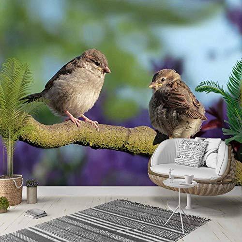 Pbbzl boomtak, bruin, kleine spatten, vogels, 3D-foto, cleaner, stof, wanddecoratie, voor thuis, woonkamer, slaapkamer, achtergrond 250 x 175 cm.