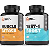 Testosterone Booster Stack (2 Supplement Bundle) by Crazy Muscle: Shred Weight - Build Lean Muscle - Our Cutting Stacks & Bundles Can Be Used PreWorkout/Post Workout for Men and Women - 180 Pills Pack