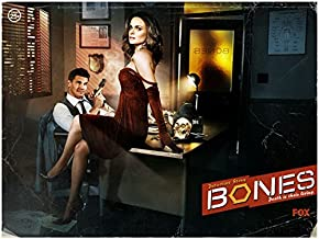 Bones Emily Deschanel as Bones in Red Velvet Dress and David Boreanaz as Booth Holding Gun Television Poster 8 x 10 inch photo