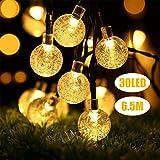 Lichterkette Außen, LED Solar Lichterkette 30 Warmweiß Kristall Kugel 6,5 Meter, Außerlichterkette Deko für Garten, Bäume, Terrasse, Weihnachten, Hochzeiten, Partys, Innen